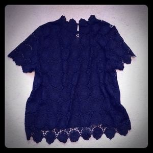 Black Lace Crocheted Top